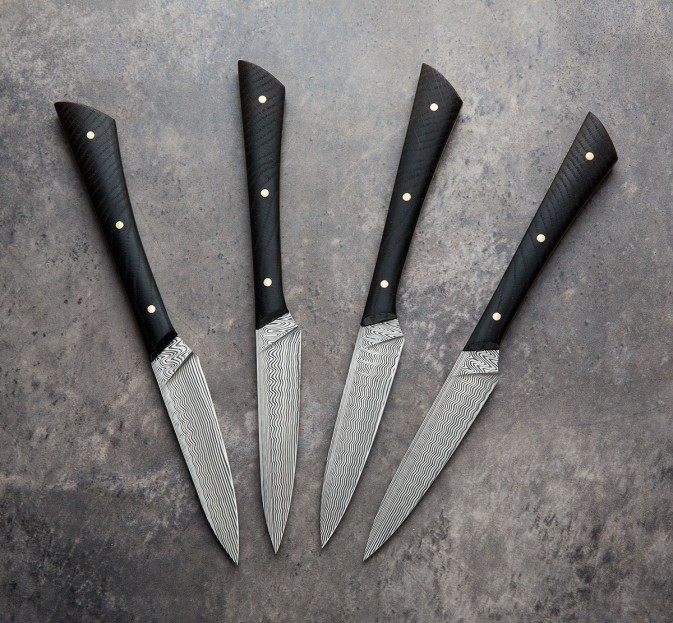Bog Oak & Damasteel Steak Knives
