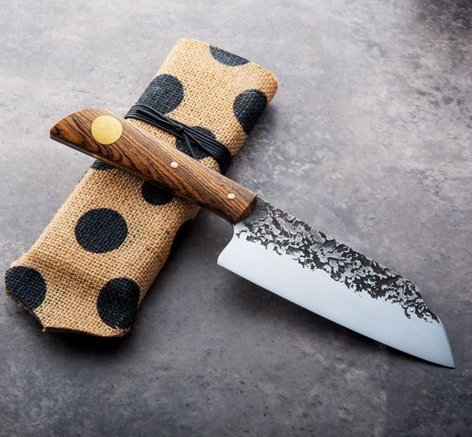 Mirrored Bocote Step Santoku