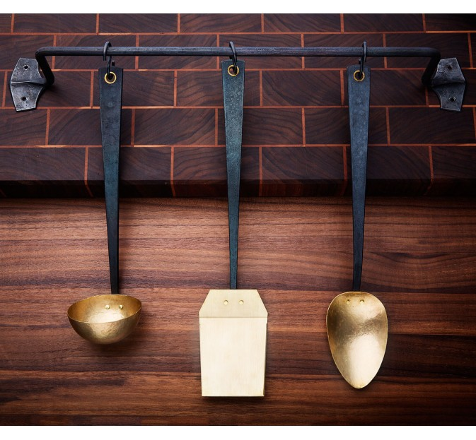 3-pc Brass & Steel Kitchen Set