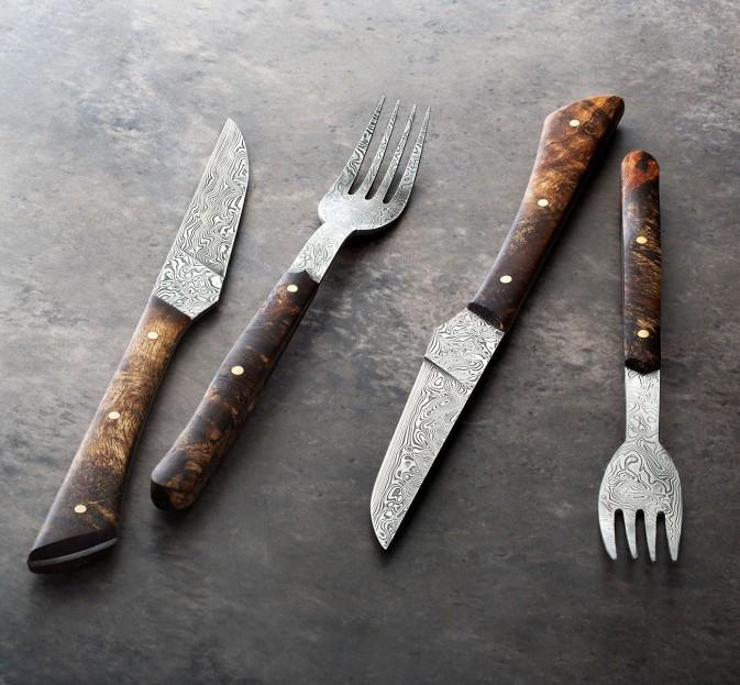 Birch Burl & Damasteel Cutlery Set