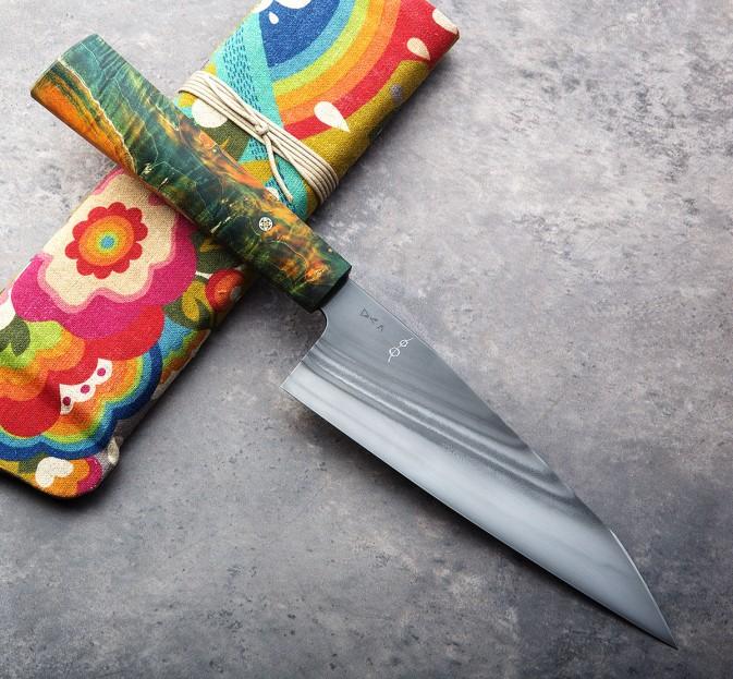 Buckeye Burl Rainbow Kiritsuke 175mm