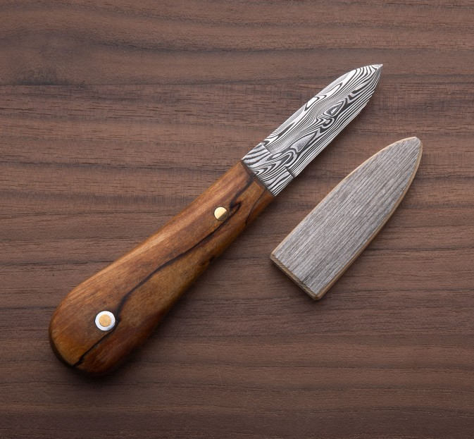 Spalted Birch Damasteel Oyster Knife