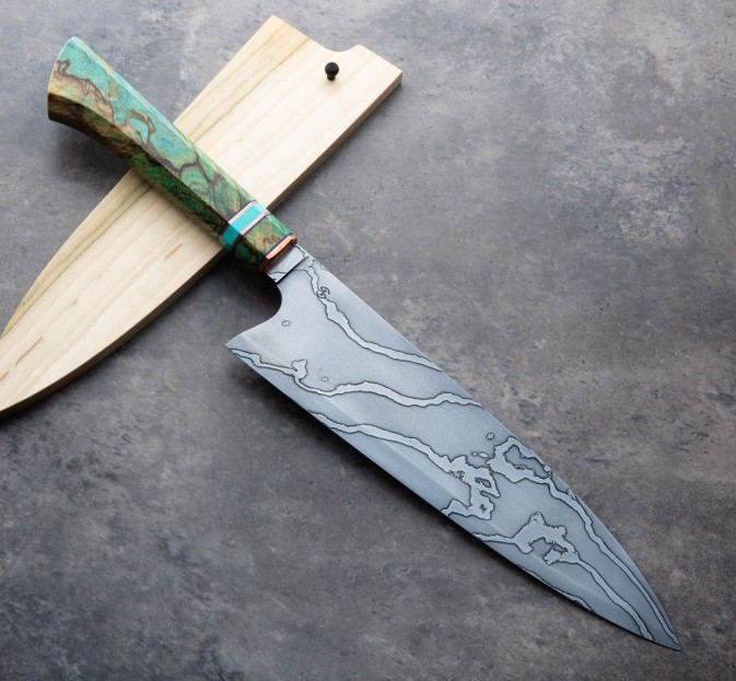 Birch & Turquoise Damascus Chef 240mm
