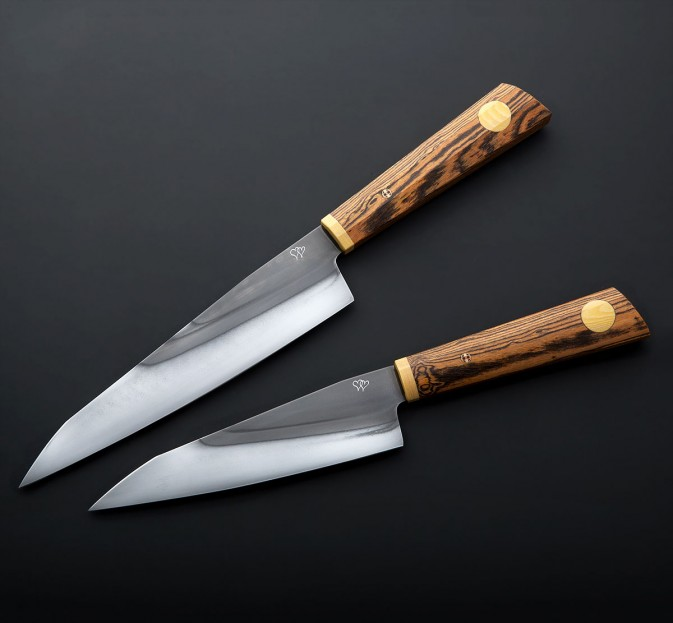 "Bocote Couples ""Heart"" Chef Set"
