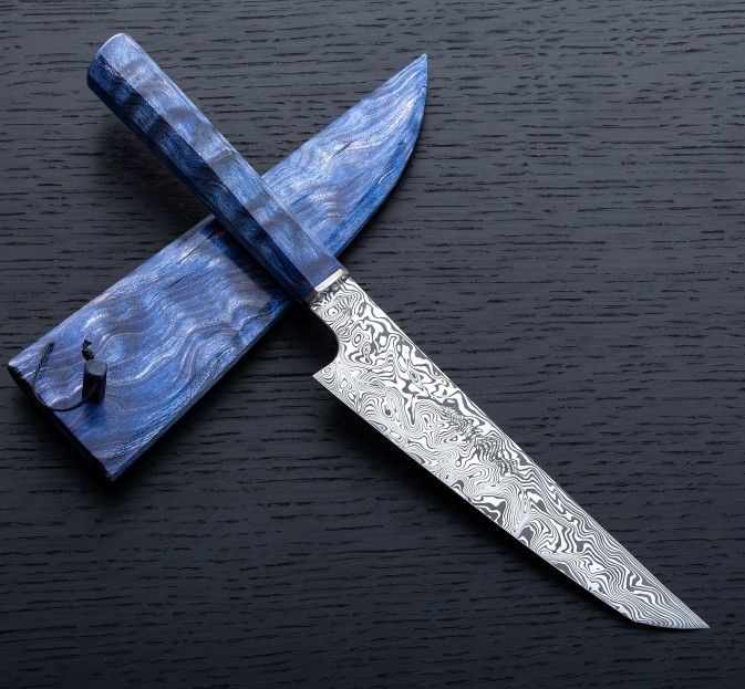 Blue Quilted Maple Sujihiki 150mm
