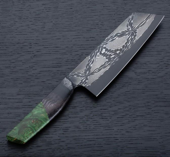 Green Maple Mosaic Santoku 178mm
