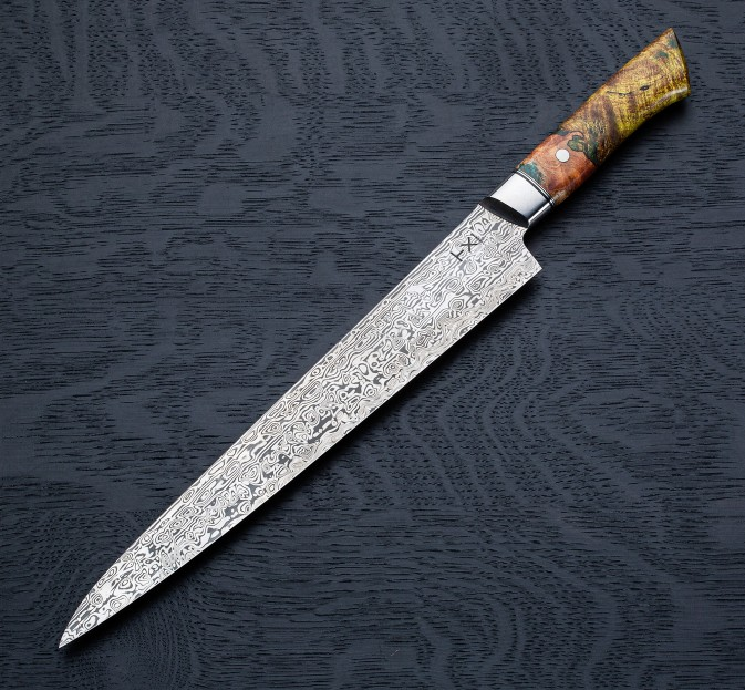 Maple Burl Damasteel Sujihiki 270mm