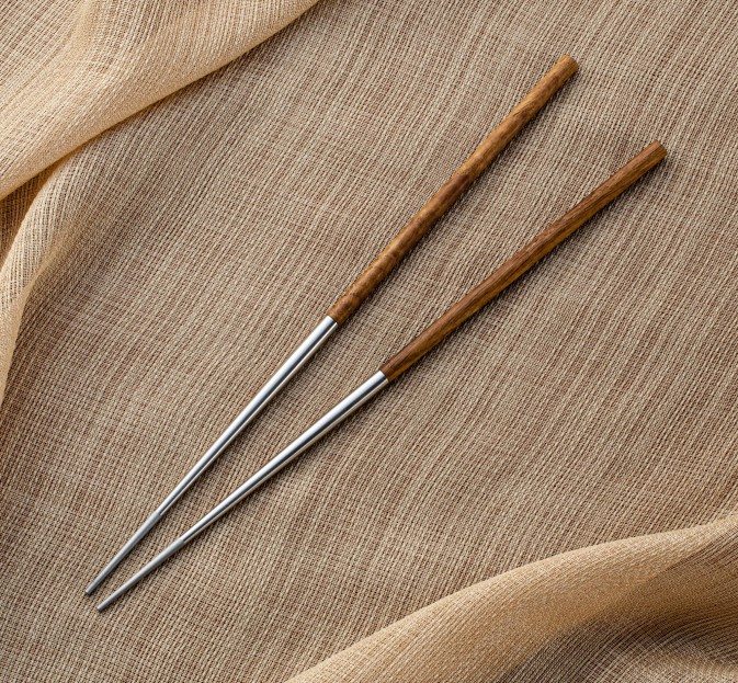 Turned Wood & Steel Chopsticks