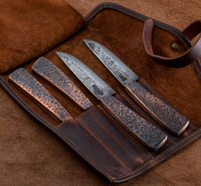 Hammered Copper Steak Knife Set