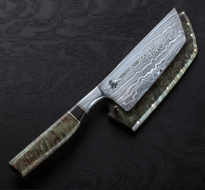 End Grain Damascus Nakiri 130mm