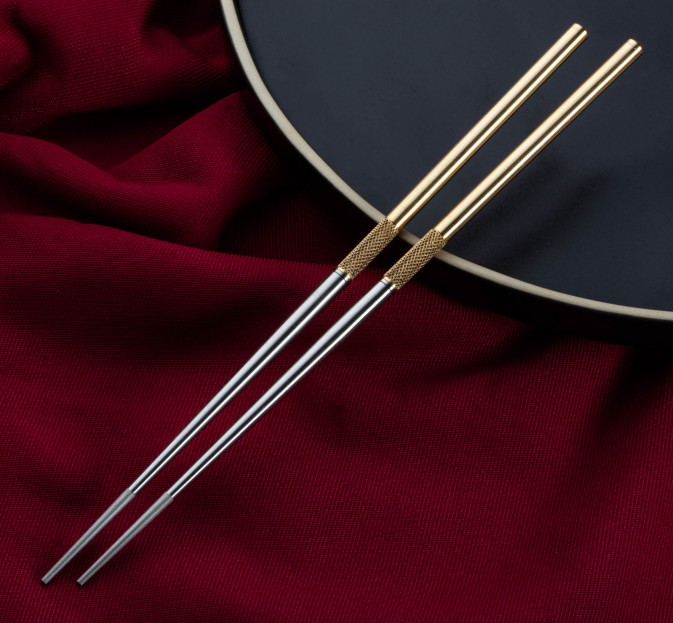 Turned Brass & Steel Chopsticks