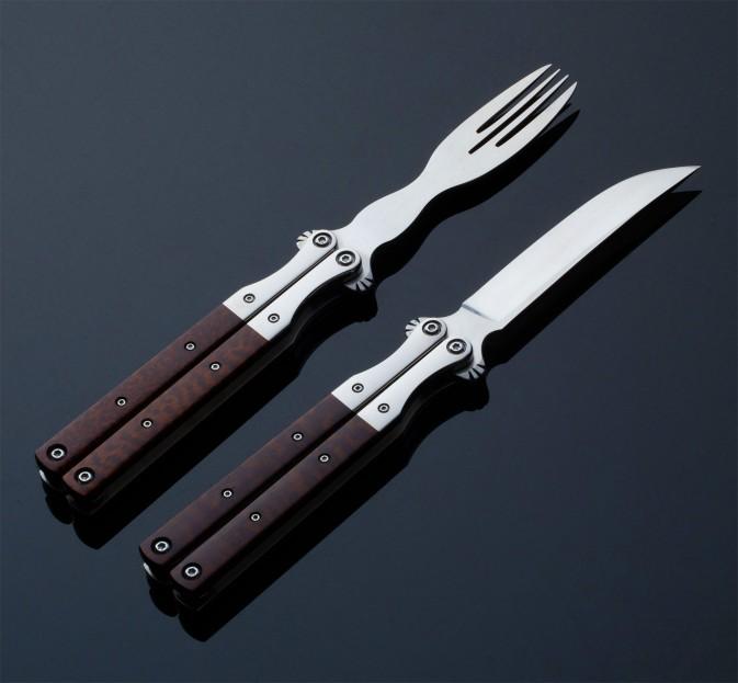 Snakewood Balisong Cutlery Set