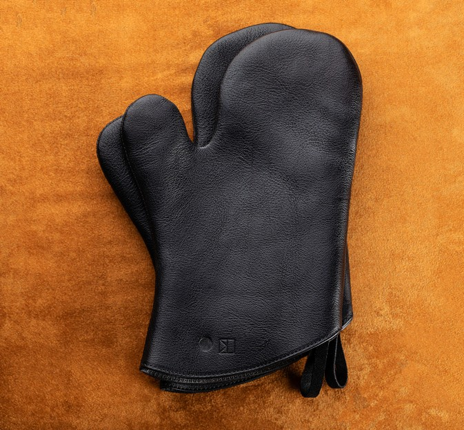 Black Leather Oven Mitts