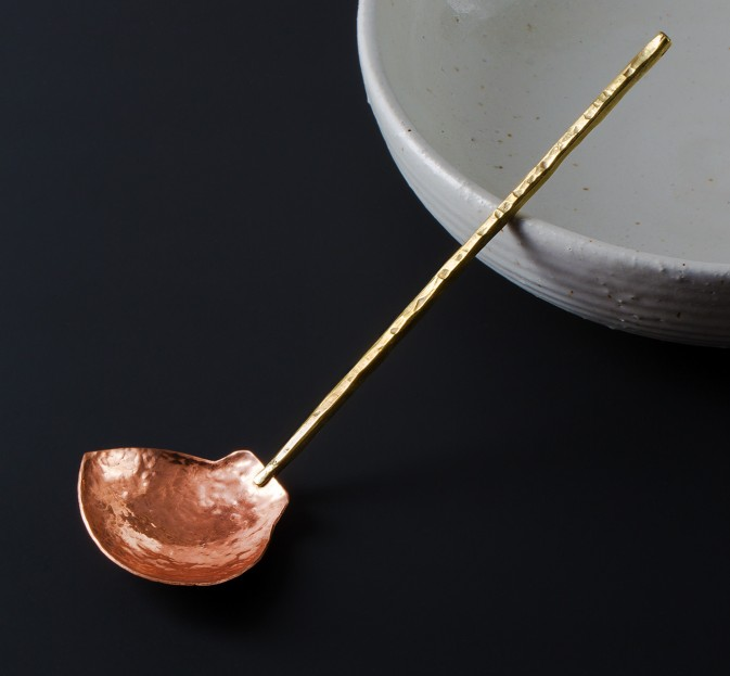 Hammered Copper & Brass Serving Spoon