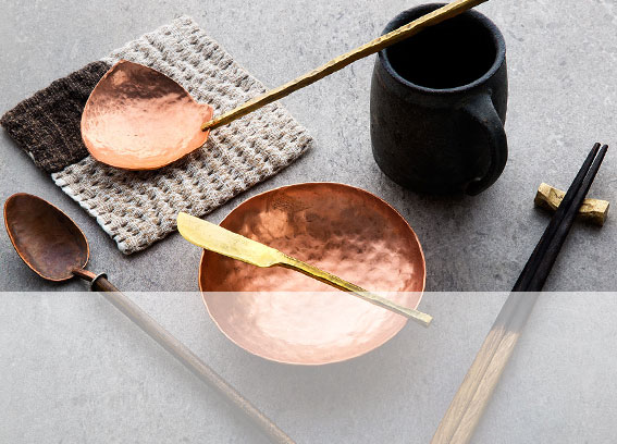 Handcrafted brass, copper and wood spoons, bowls, knives and chopsticks by ME Speak Design.