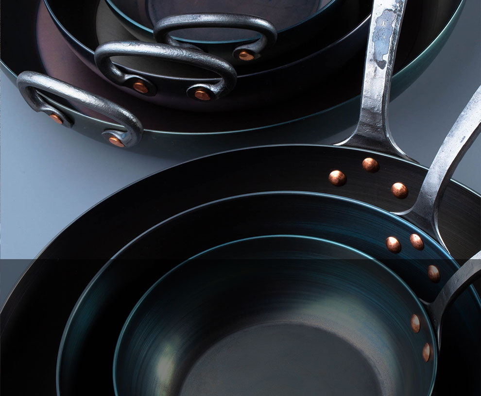 Carbon Steel Cookware, including skillets, roasters and more, crafted by hand in small batches.