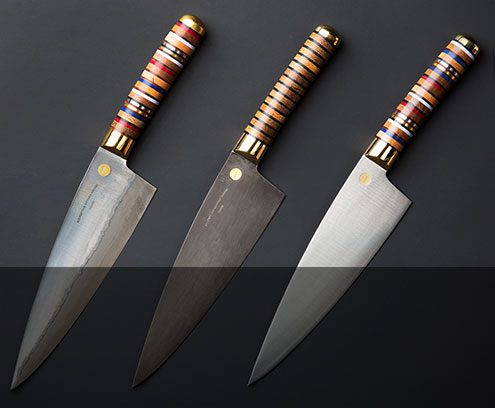 The Florentine Three Chef Knife by Florentine Kitchen Knives is available in stainless, carbon and folded steel.