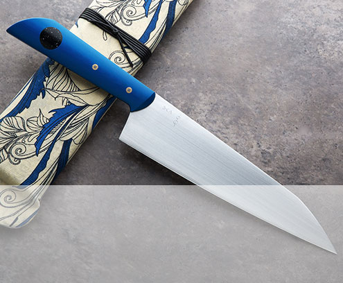 Blue XL Personal Chef Knife handmade by Don Carlos Andrade in 52100 carbon steel. $925.
