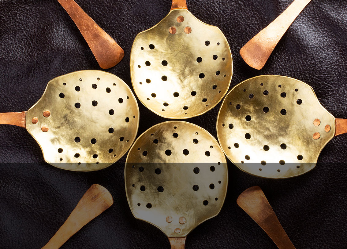 Buy the handcrafted Copper and Brass Julep Strainer by ME Speak Design