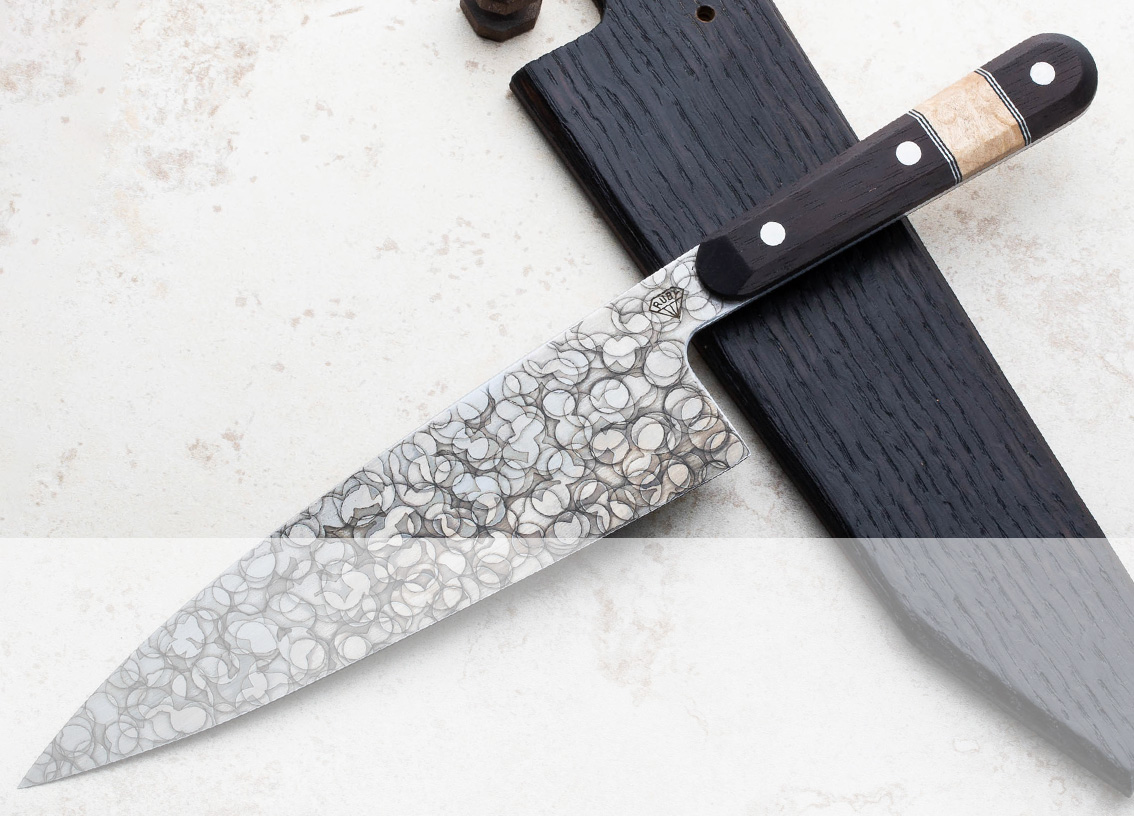 Handmade custom chef knives and accessories including work by new artist Matthew Rubendall of Ruby Knives.