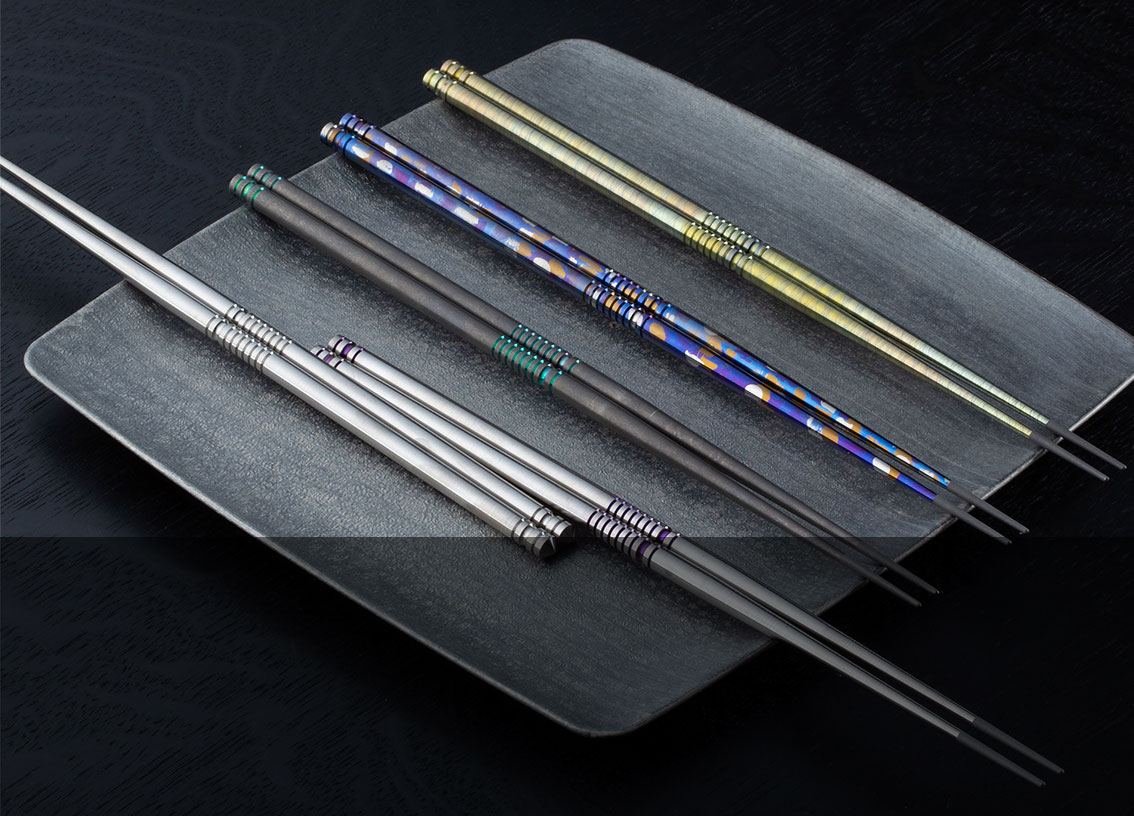TiStix Titanium Chopsticks and accessories.