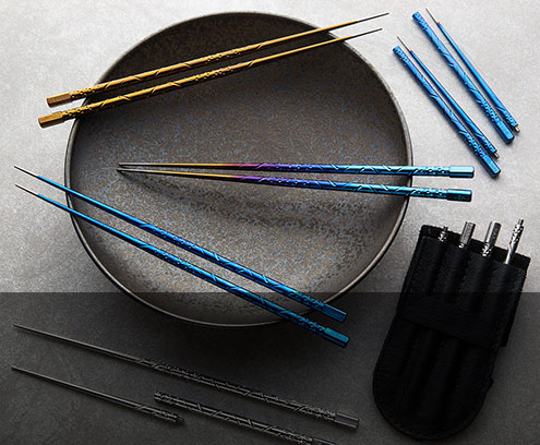 TiSushi Titanium Chopsticks with leather case by designer/maker Steven Kelly.