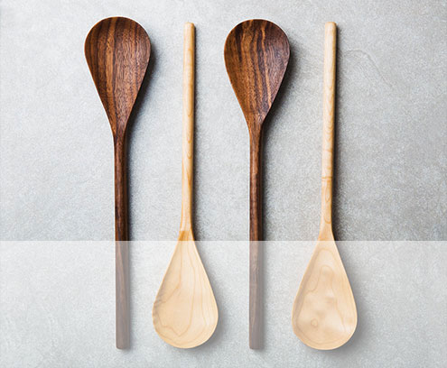 Walnut and curly maple mixing spoons Handmade in California by Tim Roberts of Glyph Design